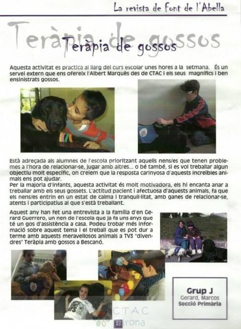 Revista Font de l'Abella: Teràpia Assistida amb Gossos
