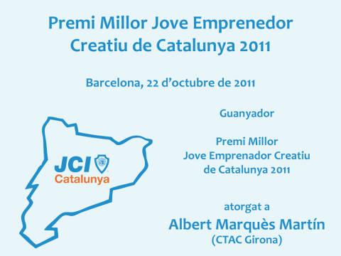 <p>Albert Marquès Martín ganador del premio al Millor Jove Emprenedor Creatiu de Catalunya 2011, representando a CTAC Girona, otorgado por la Jove Cambra Internacional.</p>